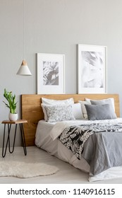 Plant on table next to wooden bed in grey bedroom interior with lamp and posters. Real photo