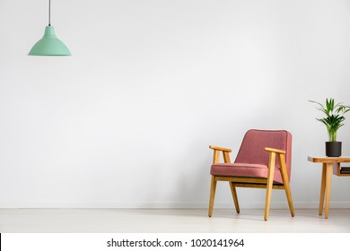 Plant on wooden table next to pink vintage armchair against white wall with copy space in room with green lamp