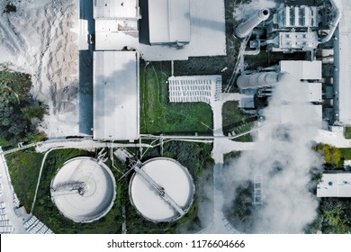 Plant for the production of cement, aerial photography.