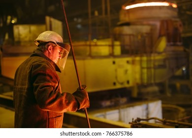Plant for the production of steel. An electric melting furnace. Worker portrait.