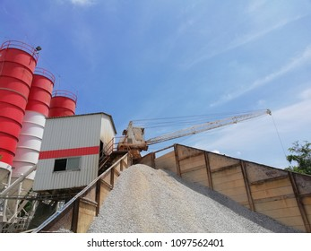 "The plant of ready mix concrete at the hot weather day background is a blue sky.This ready mix concrete plant call ""star type"""