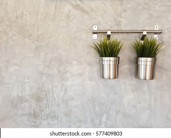 Plant in stainless pots hang on concrete wall