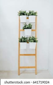 Plant stand with 5 plant pots, bamboo, white A decorative ladder plant stand to grow several plants together vertically. Interior design, room decoration, bathroom,