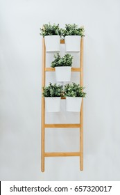 Plant stand with 5 plant pots, bamboo, white