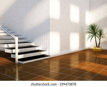 a plant is standing near the stairs