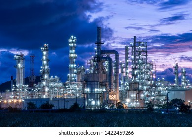 Oil​ refinery​ and​ petrochemical​ plant industrial,natural​ gas​ storage​ tank, pipe​line​ steel​ at​ blue​ cloud​ sky​ background​