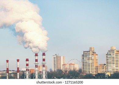 the plant works on the territory of the city , pipes emit smoke into the atmosphere pollute the air with carbon dioxide factory spoils the environment .