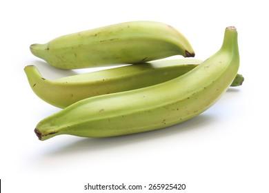 plantain banana on white background