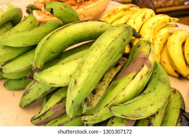 Plantain bananas or green banana. Traditional and popular snack and accompaniment in Central and Northern South America,