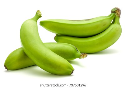 Plantain cluster and two separated green bananas isolated on white background