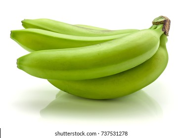 Plantain or green banana cluster isolated on white background