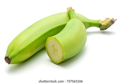 Plantain isolated on white background one whole and a half