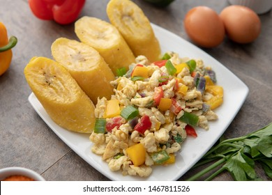 Plantain Rice Dish. African Meal. Egg Dish. Peppers and Banana. Nigerian Cuisine. Green peppers Meal
