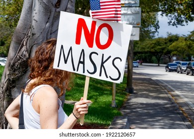 Plantation, Florida, USA – February 19, 2021 – Protest of Broward County Government EO mandate of Covid-19 Coronavirus pandemic face mask by right wing conservative Chris Nelson of target fame.