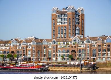 Plantation Wharf, a riverside commercial development, between Battersea and Wandsworth bridges in London