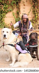 Plantersville, Texas / United States of America - November 24th 2018: Renaissance Festival, Two Dogs & Jack Sparrow