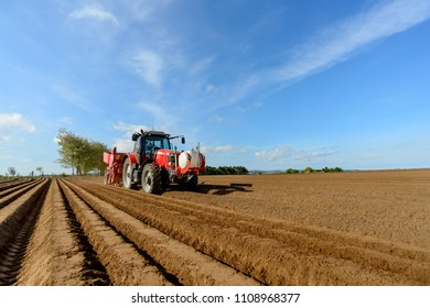 Planting potatoes with a tractor and specialist equipment.