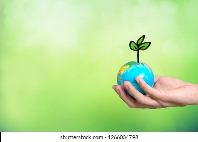 Planting tree in green globe , Environment conservation