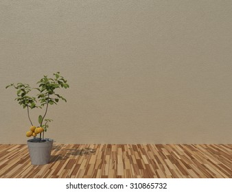 plants on wooden floor  with copy space