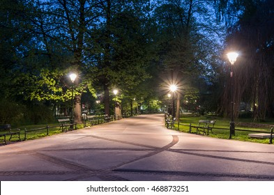 Planty park in the night, Krakow, Poland