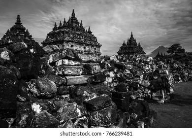 plaosan temple in black and white. Plaosan Temple, Klaten, Central Java