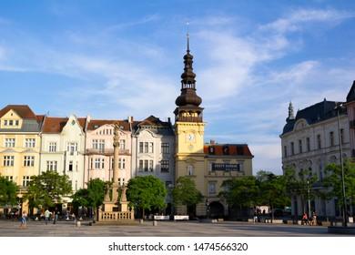 Plaque column of the Virgin Mary (Mariansky morovy sloup ) and former town hall (Stara radnice), Masaryk square (Masarykovo namesti), Ostrava, Czech republic / Czechia - May 23, 2016