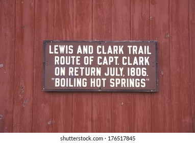 plaque commemorating Lewis and Clark trail in Boiling Hot Springs,MT