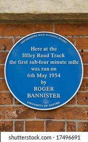 Plaque commemorating Roger Bannister's sub-4 minute mile, Oxford, UK