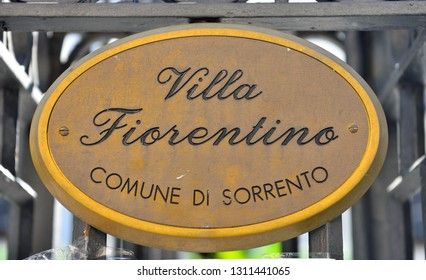 plaque and entrance of Florentine villa with a beautiful garden full of lemon and orange trees used for cultural events, music and concerts