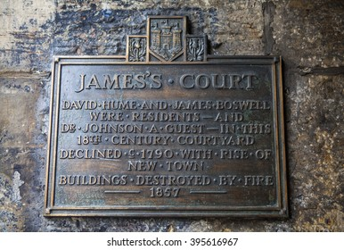 A plaque at the historic Jamess Court in Edinburgh, Scotland.