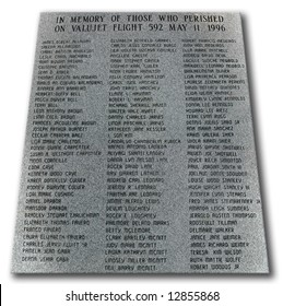 Plaque: In Memory of Those Who Perished on ValuJet Flight 592 May 11, 1996. Located off road 41, 20 miles outside of miami, Florida, USA.