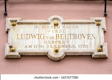 A plaque on the exterior of Beethoven-Haus, or Beethoven House in the city of Bonn, Germany. The plaque says In This House, Ludwig van Beethoven was Born on 17th December 1770. - Shutterstock ID 1657677280