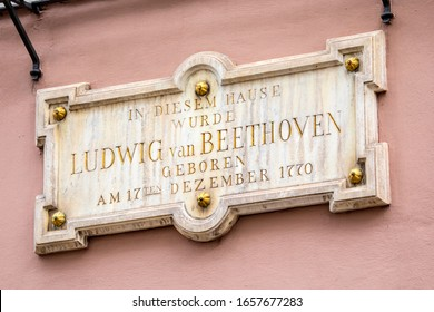 A plaque on the exterior of Beethoven-Haus, or Beethoven House in the city of Bonn, Germany. The plaque says In This House, Ludwig van Beethoven was Born on 17th December 1770. - Shutterstock ID 1657677283