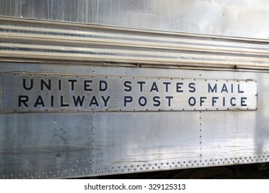 Plaque on the outside of an old postal train car