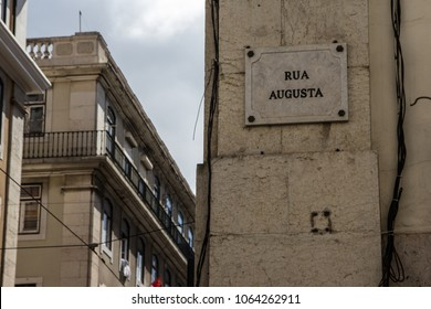 plaque of street named Rua Augusta at Lisbon, Portugal. Very popular street in the city