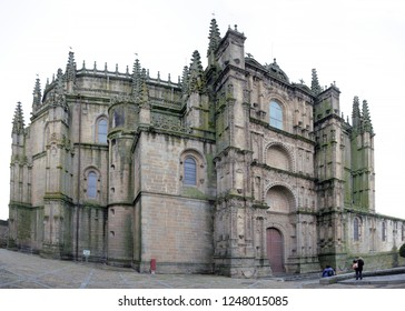PLASENCIA, CACERES, SPAIN - NOVEMBER 25, 2018: Main facade of the New Cathedral of Plasencia. Panorama