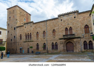 PLASENCIA, CACERES, SPAIN - NOVEMBER 25, 2018: Main facade of the palace of Monroy