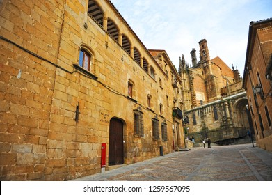 Plasencia, Spain - Feb 28, 2014: House of the Dean (Casa del Dean) and New Cathedral at background in Plasencia, a famous town in the province of Caceres, Extremadura, Spain