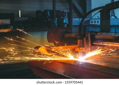 Plasma cutting CNC machine in the workshop