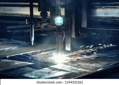 Plasma cutting metalwork industry machine in factory