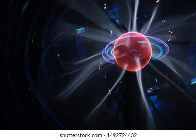 Plasma globe close-up. Plasma ball. Plasma Lamp. Long exposure