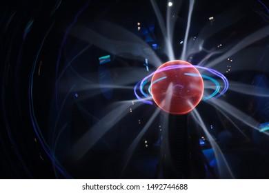 Plasma lamp, plasma globe, plasma ball close-up view.
