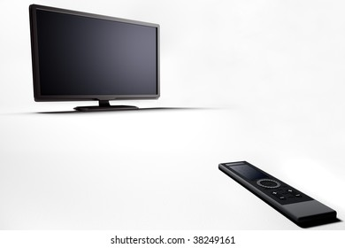 Plasma lcd tv with remote control 3d render