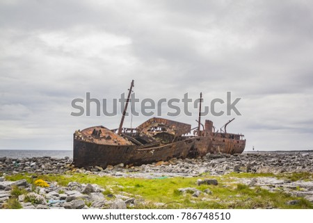 Plassey Shipwreck on Inisheer Island, County Galway, in the West of Ireland