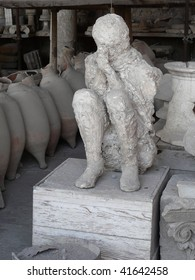 Plaster cast of the body of a woman killed at the ancient Roman city of Pompeii, which was destroyed and buried by ash during the eruption of Mount Vesuvius in 79 AD