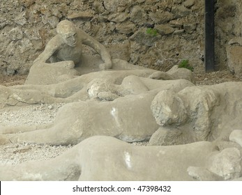 Plaster casts of people of killed at the ancient Roman city of Pompeii, which was destroyed and buried during the eruption of Mount Vesuvius in 79 AD
