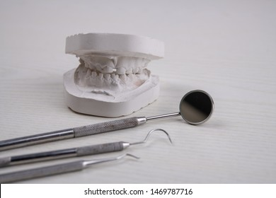 plaster model  of teeth and different dental instruments on bright ground