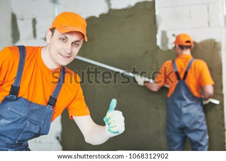 Plaster Service Portrait Male Plasterer Stock Photo (Edit Now