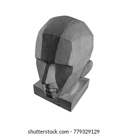 plaster statue of a human skull and head with an angular outline graphic