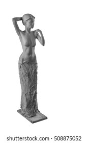 plaster statue of a naked girl on a white background isolated